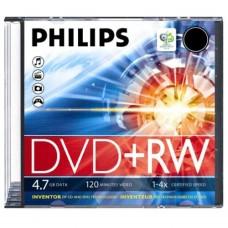 PHILIPS DVD+RW 4.7GB DW4S4S01F CAJA SLIM PACK 10 UNIDADES
